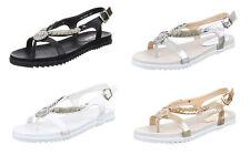 Markenlose Damen-Sandalen & -Badeschuhe im Zehentrenner-Stil aus Kunstleder für Freizeit