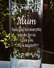 Personalised Engraved Glass Vase - Mum - Mother's Day - Birthday