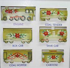 Boyd Glass Handpainted Poinsettia Train Set
