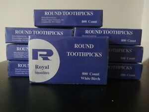 Round toothpicks Royal 800 Count Lot Of 7 Factory Sealed