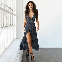 Women Boho Floral Maxi Long Dress Party Evening Sleeveless Summer Beach Sundress