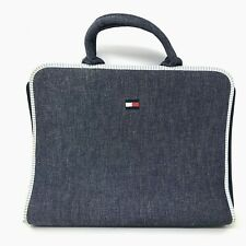 Retro 90s Tommy Hilfiger Vintage Denim Organizer Binder Clutch Bag w/ Handle
