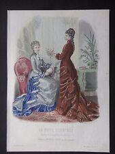 GRAVURE MODE 19e - MODE ILLUSTREE - TOILETTES MME BREANT 1877 - GRAND FORMAT