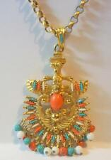 Castlecliff Larry Verba Aztec Turquoise, Coral and White Pendant Necklace