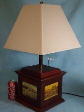 Rare Vintage Wood GOLF CLUBS TABLE LAMP DESK Antique PHOTOS of CLUB HOUSE