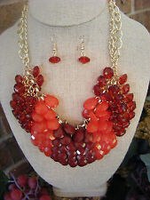GOLDTONE CHAIN RED, CORAL, RUBY RED WATERFALL DROP NECKLACE & EARRINGS