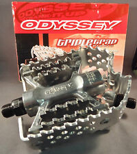 BMX Bike Odyssey Triple Trap Pedals All Silver 9/16 for Racing Old Mid School
