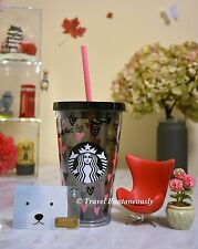 Starbucks 2017 Valentine's Day Black Pink Hearts Gold Crown Cold Cup Mug Tumbler