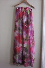 Forever New Floral Tropical Print Silk Strapless Maxi Beach Dress Resort Size 8