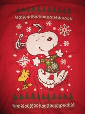 Peanuts SNOOPY & WOODSTOCK Christmas Sweater Design (LG) T-Shirt w/ Tags