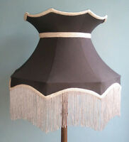 Large Taffeta lampshade  black crown shape lined for a standard lamp or ceiling