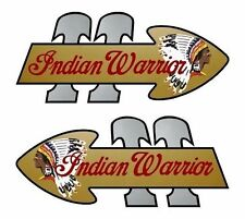 "2 WARRIOR TT 8"" Indian Motorcycle Tank Vinyl Decals for Gas Tank or Trailer"