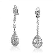 Ada Vintage Art Deco Bridal Formal Silver Clip on Long Crystal Earrings Wedding