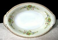 """Patricia by National China 11"""" Oval Vegetable Bowl w Tab Handles Yellow Floral"""