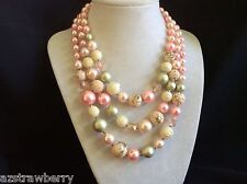"VINTAGE PINK  PEARL FAUX  THREE STRAND BEADED NECKLACE JAPAN 16.5""L"