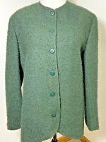 Jaeger Size 14 Jacket Blazer 80s Dark Green Wool Alpaca & Mohair Boucle Smart