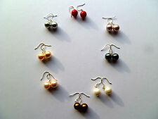 Stunning Mother Of Pearl Round Drop Handmade Shell Earrings Sea Goddess Mermaid