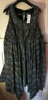 Brand New Yours Black Patterned Dress Uk 16 11RN181