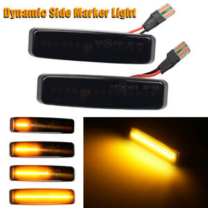 Dynamic Smoke Lens Sequential LED Side Marker Light Turn Signal Lamp For BMW E39
