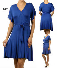 D17 New Womens Blue Size 22/24 Short Frill Sleeves Wrap V Belted Chic Dress Plus
