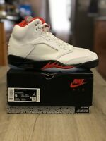 Nike Air Jordan 5 Retro Men's Shoes True White/Fire Red-Black DA1911-102 Size 9