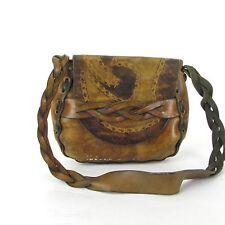 Vintage Hand Tooled Leather Purse Braided Strap Shoulder Bag Boho Hippie