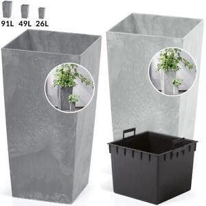 Pot de fleurs, Bac à fleur, Cache pot style Béton 26/49/91L Anhtracite/Gris