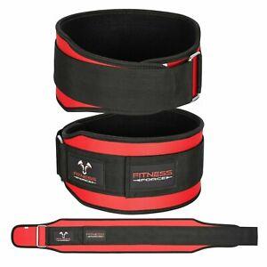 "Weight lifting Belt Red 5.5"" Lower Back Support workout Gym Belt for Men / Women"