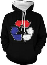 Red White Blue Recycle Sign Patriot Environment Friendly  2-tone Hoodie Pullover