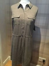 BNWT PURE COLLECTION 100% Silk Shirt Dress in Nude / Black UK16 RRP £149