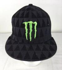 Monster Energy Flexfit Hat One Industries S-M Black & Lime Acrylic Wool Blend