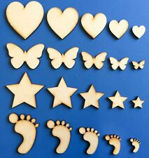 Wooden MDF Shape Hearts Stars Butterfly CHRISTMAS Craft Embellishment Decoration