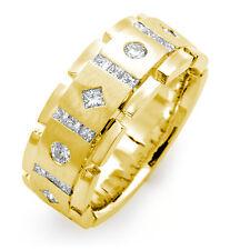 1 Ct Princess Round Men's Genuine Diamond Wedding VS2 Ring Band 14k Yellow Gold