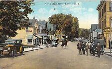 c.1915 Stores Auto Garage North Main St. Liberty NY post card Sullivan County
