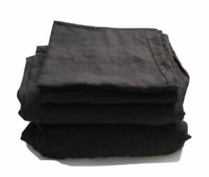 Casaluna Black Linen Sheet Set, Full
