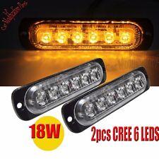 2pcs Bright 18W CREE Amber 6LED Flash Emergency Hazard Warning Strobe Light Bar