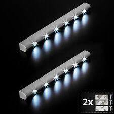 2x Barra de Luz 6 LED sensor de movimiento para armarios instalación debajo