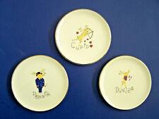 "Pottery Barn REINDEER Christmas 4"" MINI PLATES Set 3 Dancer, Donner, Cupid UNUSD"