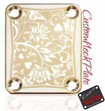 Gold Floral Engraved Guitar Neck Plate fits Fender pbass,Telecaster, Strat