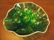 3 Green Optic Bowl with Glass Globes  Art Glass Bowl Original $1625.00 tag