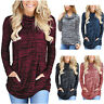 Women Lady Top T-shirt Long Sleeve Round Collar Loose with Pocket For Autumn