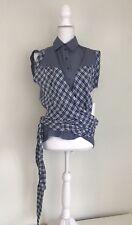 L.A.M.B. NWT Blue Womens Size 0 Button Down Shirt Wrap Plaid