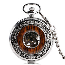Vintage Wood Circle Pocket Watch Skeleton Mechanical Hand Wind Silver Pendant