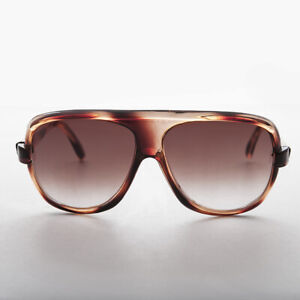 Brown 80s Aviator Sunglass Flat Top and Square Lens - Baron