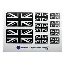 9X UK Union Jack flags Black/White Laminated Decals Stickers Triumph Bonneville
