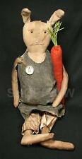 "Hand-Made 25"" Primitive Grungy Rebecca Bunny Rabbit With Carrot"