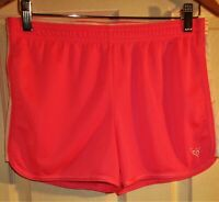 New NWOT JUSTICE logo girl youth sz 18 hot pink white meshed shorts polyester