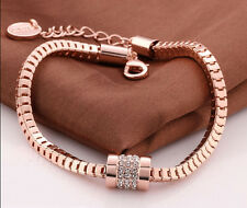 18K Rose Gold Gp Auatrian Crystal Snake Chains Bracelets Bangle BR090