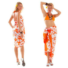 1 World Sarongs Womens Triple Lei Swimsuit Cover-Up Sarong in Orange/White