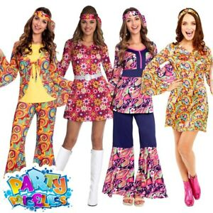 Adult Ladies 1960s Hippie Costume Hippy World Book Day Womens Fancy Dress Outfit